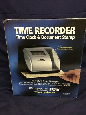 New Acroprint Es700 Time & Date Employee Recorder Clock
