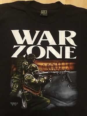 NOS! Vintage JUST BRASS WAR ZONE Conflict T Shirt Large Soldier Military Army