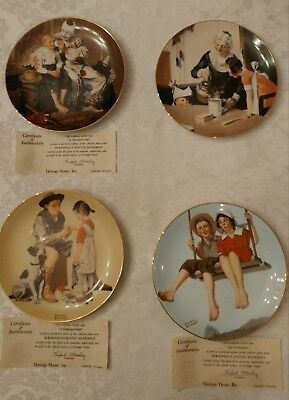 Set of 4 NORMAN ROCKWELL COLLECTOR PLATES, Heritage House