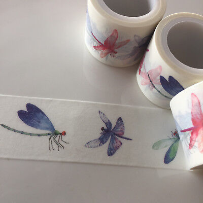 Washi Tape Wide Dragonflys 30Mm X 5Mtrs Craft Wrap Planner Scrap