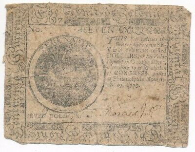 1775 Hall/sellers Philadelphia Continental Currency $7 Note-Scarce! Ships Free!