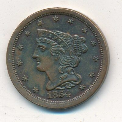 1854 Braided Hair Copper Half Cent-Magnificent Uncirculated Coin-Ships Free!