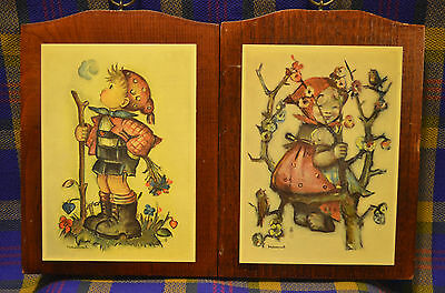 Pair of MANCHESTER WOOD Handcrafted in Vermont Girl&Boy HUMMEL Wooden Plaques
