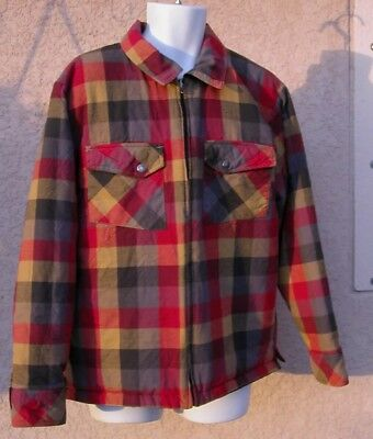 North Face Red Black Plaid Flannel (Men L Large) Full Zip Insulated Jacket