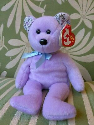 TY Beanie Baby - SPRINGER the Purple Bear (8.5 inch) - MWMTs Stuffed Animal Toy