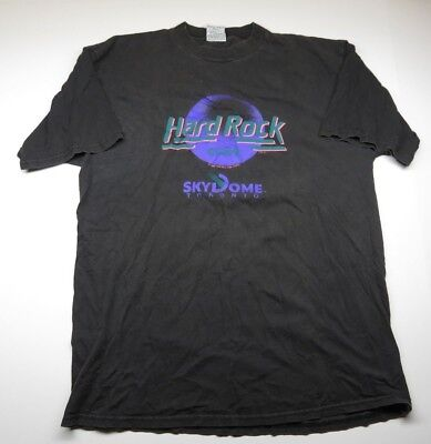 1989 Hard rock Cafe Skydome Toronto Black Graphic T-Shirt Adult Men's Size XL