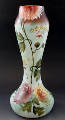 Antique Victorian Bristol Hand-Painted White Cased Floral Enameled Glass Vase