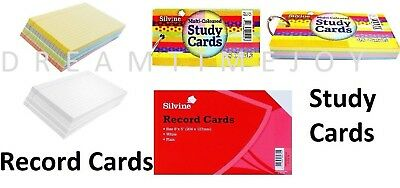 Silvine Revision Record Card Flash Index - White/Ruled/Coloured Office School