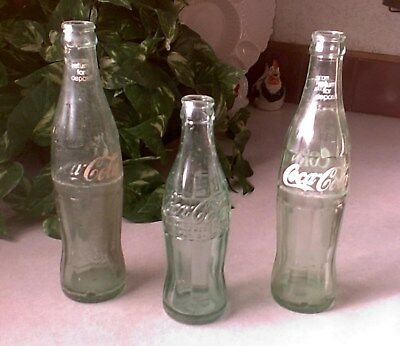3 VINTAGE COCA COLA BOTTLES empty assorted COKE BOTTLE LOT *RETURN FOR DEPOSIT*