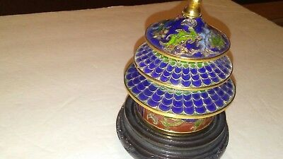 antique handmade cloisonne chinese pagoda castle with stand