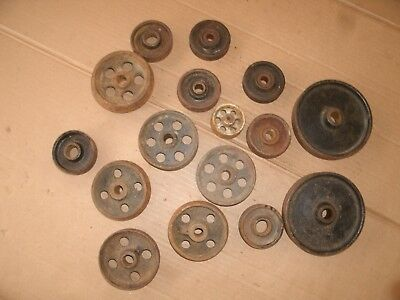 Vintage Cast Iron Wheel Lot Steampunk Hardware Industrial Wall Art Part Lot