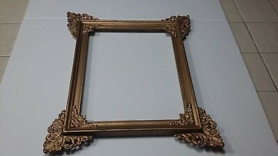 Vintage Gold Painted Wood Picture Frame  Metal Accents Corners