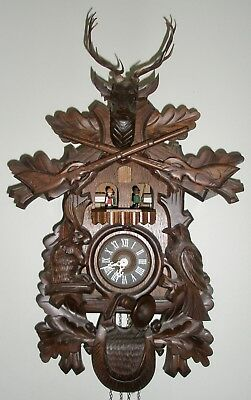 Large Thoren's Hunter Black Forest Germany Swiss Made Cuckoo Clock, Edelweiss