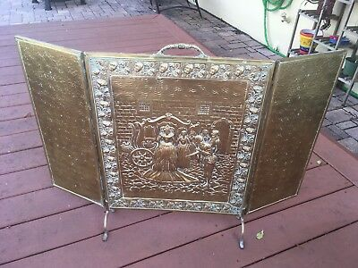 Vintage Antique Ornate Victorian Brass 3 Panel Folding Fireplace Screen Metal