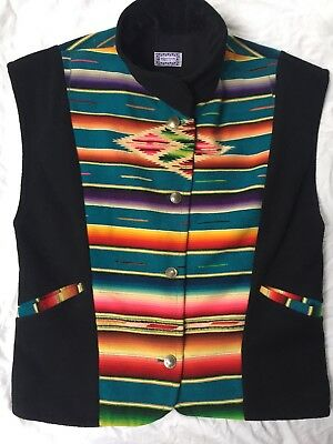 Vintage ~SHARON SMITH Santa Fe Designer~SW Serape & Leather Vest size L