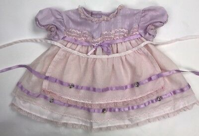 Fayette Baby Infant Dress Purple Pink Smocked Lace Floral Trim Apron 6M 6 Months