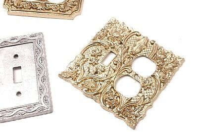 Vintage Lot of 3 Ornate Decorative Brass, Metal Light Switch Plate Covers