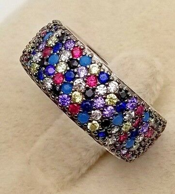 Ladies Women Multi Color Genuine Solid 925 Sterling Silver CZ Cocktail Band Ring
