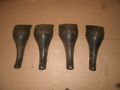 4 Vintage Cast iron stove leg Lot Industrial Wall art Steampunk Hardware Parts
