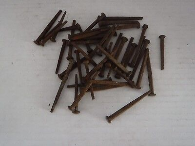 43 SQUARE HEAD ROSE HEAD Nails Antique Vintage iron spike Lot of 46 Various Size