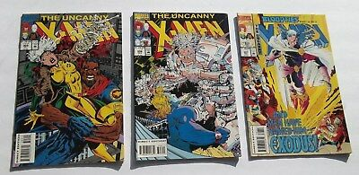 Lot of 3 Uncanny X-Men Comic Books #305,306,307 NM- White Pages Mutant Heroes