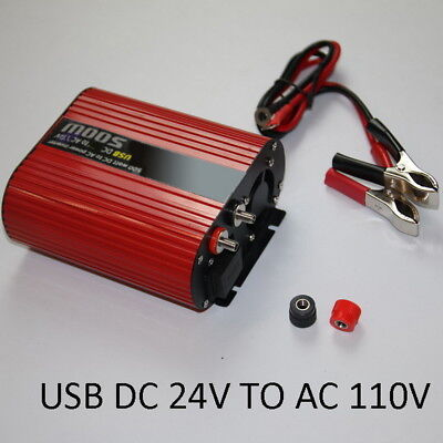 Dual USB Cigarette Lighter Plug Car 500W Power Inverter Red Oval 24V to 110V