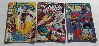 Lot of 3 Uncanny X-Men Comic Books #307,308,309 VF/VF- White Pages Mutant Heroes