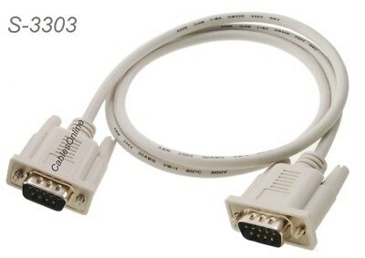 3ft DB9 Male to Male Straight-Through Fully Wired Serial RS232 Cable , S-3303
