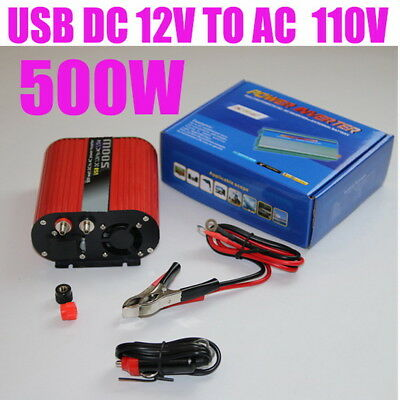 500W Cigarette Lighter Plug Dual USB 12V to 120V Car Power Inverter Red Oval