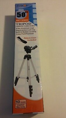 "Zeikos 50"" Pro Series Tripod for camera/camcorder with case"