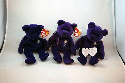 Ty Beanie Baby ~ PRINCESS the (Diana) Bear from 1997 ~ RARE & RETIRED Lot Of 3