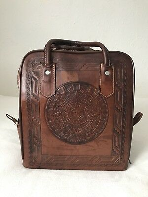 Vtg Mexican Tooled Leather Bowling Bag Pymsa Aztec Calendar