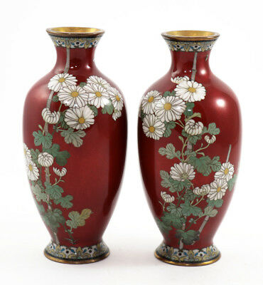 Pair, deep red Ando-style floral cloisonné vases, late Meiji ca 1890s [11374]