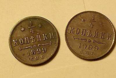 1899 and 1909 Russia 1/4 kopeck 2 coins lot