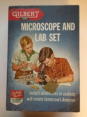 VINTAGE 1950s GILBERT MICROSCOPE LAB SET #13041, W/ METAL BOX