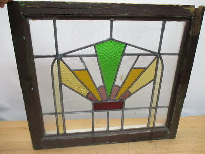 """c1800s GOTHIC MANSION LEADED STAINED GLASS WINDOW 24"""" x 23"""" ORIGINAL"""