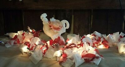 Red vtg valentines day banner Lace Rags garland decor hearts decor lights string