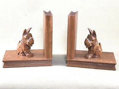 Pair Of Vintage Scotty Dog Carved Wood Bookends