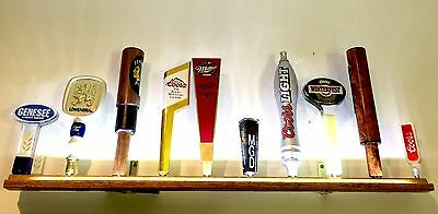 10 BEER TAP HANDLE DISPLAY WHITE LED's BATTERY OPERATED WALL MOUNT W/ BRACKETS