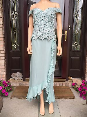 Cameron Blake by Mon Cheri Mother of the Bride Dress Sz 8 Crystals Lace Beads