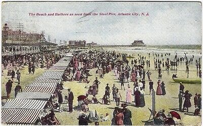 AK Atlantic City, N.J. 1910 - The Beach and Bathers as seen from the Steel Pier