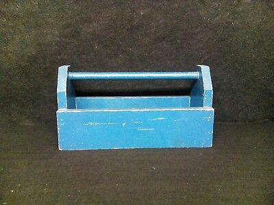 antique vintage primitive wooden blue tool box tray caddy country farmhouse old