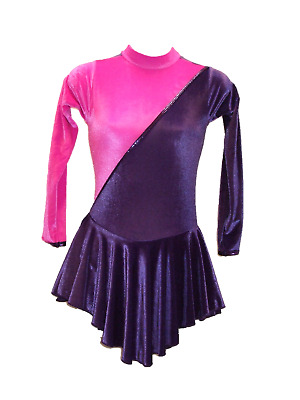 PZAZZ VELVET SKATING / ROLLER / TAP DRESS SIZE AGE 9 to 10 PURPLE PINK VELVET