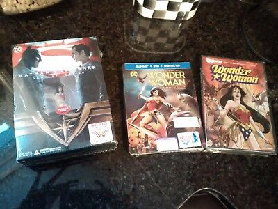 Lot of  Wonder Woman DVD's all sealed w/ collectible tiara and figure Rare Steel