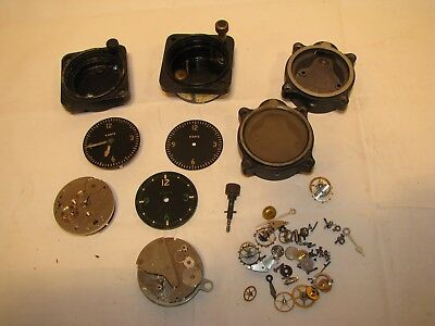 Vintage Lot 8 Day Aircraft Plane Clock Movements Parts Repair Steampunk WWII