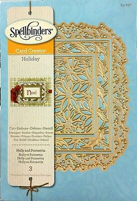 Spellbinder Cut Emboss & Stencil Dies ~Holly And Poinsettia Code S6-297