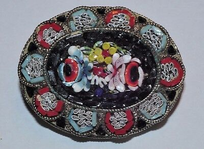 Very Nice Vintage Mosaic And Silver Brooch/pin   Estate