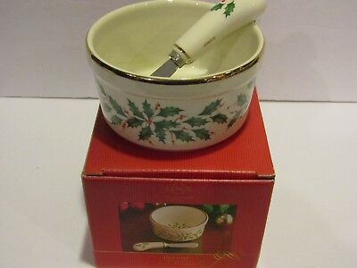 NEW! LENOX Holiday Design~Christmas Dip Bowl with Spreader~Holly and Berries~4.5