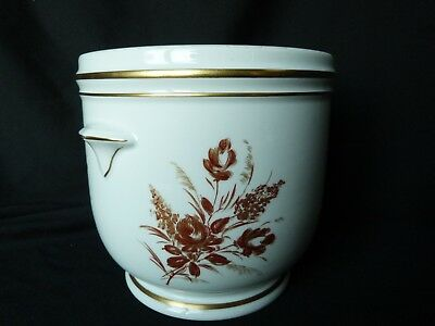 Cache pot en porcelaine blanche et or
