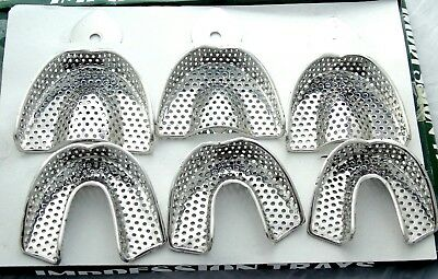(SET OF 6) Dental Impression Trays Rim Lock Non-Perforated S.M.L Upper/Lower CE